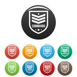 Commando badge icons set color. Commando badge icons set 9 color vector isolated on white for any design royalty free illustration