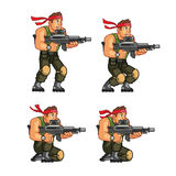 Commando Crouching Game Sprite. Vector Illustration of Commando Game Animation Sprite royalty free illustration