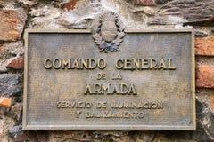 Commando General DE La Armada teken in Colonia del Sacramento, Uru stock afbeelding