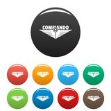 Commando icons set color. Commando icons set 9 color vector isolated on white for any design royalty free illustration