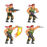 Commando Knife Attack Game Sprite Stock Photo