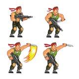 Commando Knife Attack Game Sprite. Vector Illustration of Commando Game Animation Sprite royalty free illustration