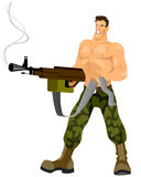 Commando with machine gun Royalty Free Stock Photo