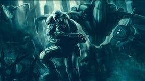 Commando in pantserkostuum met het grote geweer vechten royalty-vrije illustratie