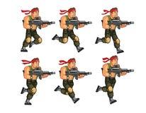 Commando Running Game Sprite. Vector Illustration of Commando Game Animation Sprite stock illustration
