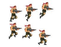 Commando Running Game Sprite. Vector Illustration of Commando Game Animation Sprite royalty free illustration