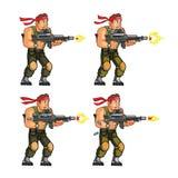 Commando Shooting Game Sprite. Vector Illustration of Commando Game Animation Sprite royalty free illustration