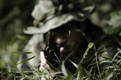 Commando soldier. A commando sodier taking his aim at the enemy Stock Photography