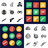 Commandos All in One Icons Black & White Color Flat Design Freehand Set. This image is a vector illustration and can be scaled to any size without loss of Royalty Free Stock Images