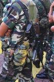 Commandos on guard. Commandos with machine gun on guard Stock Photos