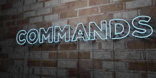 COMMANDS - Glowing Neon Sign on stonework wall - 3D rendered royalty free stock illustration Stock Photos