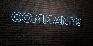 COMMANDS -Realistic Neon Sign on Brick Wall background - 3D rendered royalty free stock image Royalty Free Stock Photography