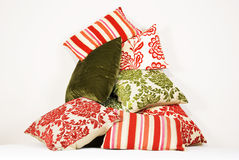 Commbination of colorful cushions in red and green Stock Images