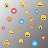 Comme et de coeur et d'emoji icônes Vidéo vivante de courant, causerie, goûts, emoji Réactions compréhensives d'Emoji Filets soci illustration stock