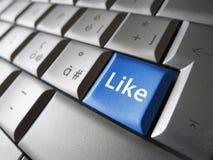 Comme la clé sociale de Facebook de réseau de Web Photos stock