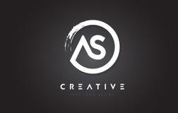 COMME logo de circulaire avec la conception et le noir Backg de brosse de cercle illustration stock