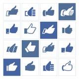 Comme, placez les icônes bleues dans les places Image stock