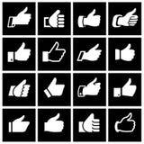 Comme, placez les icônes sur les places noires Photos stock