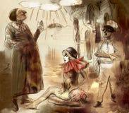 Commedia dell ` arte - ręka malował ilustrację ilustracja wektor