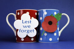 Commemorate November 11, Remembrance Day with coffee tea cup mugs. Commemorate November 11, Remembrance Day, Armistace Day, with red, blue and white them coffee Royalty Free Stock Photography