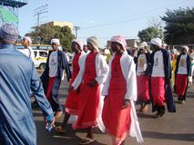 Commemorating the Prophet, Milad un Nabbi celebration. Muslims perform a procession to mark Milad un Nabbi celebrations in Africa Nairobi Kenya to mark the birth Royalty Free Stock Image