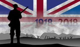 Commemoration of the centenary of the great war, England vector illustration