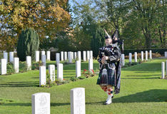 Commemoration ceremony at Ramparts cemetery on Armistice Day. YPRES, BELGIUM-NOVEMBER 11, 2014: Commemoration ceremony at Ramparts cemetery on Armistice Day Stock Photography