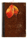 Commemoration Concept. Concept with autumnal leaves on an old scatched and towelled book cover royalty free stock photo