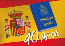 Commemoration of forty years of proclamation of the Spanish Cons. Constitucion española. Commemoration of forty years of Spanish constitution declaration vector illustration