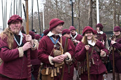 Commemoration of King Charle's I excecution. Unidentified members of the English Civil War Society in historical costume, wait for the parade to commemorate the Stock Photo