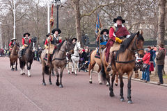 Commemoration of King Charle's I excecution. Mounted members of the English Civil War Society in historical costume, lead the parade to commemorate the execution Stock Photos