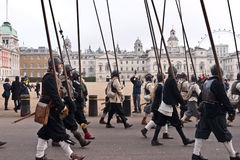 Commemoration of King Charle's I excecution. Members of the Kings Army with drums and pikes,part of the English Civil War Society commemorate the execution of Royalty Free Stock Photography