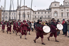 Commemoration of King Charles I excecution. Members of the Kings Army with drums and pikes,part of the English Civil War Society commemorate the execution of Stock Images