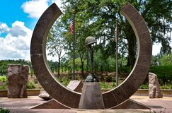 Commemoration to Korean War Memorial. Cascades Park, Tallahassee, Florida,commemoration to the Korean War Memorial. A broken circle of country, duty, honor royalty free stock photo