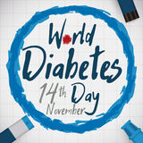 Commemoration of World Diabetes Day with Glucose Control Tools, Vector Illustration Royalty Free Stock Photo