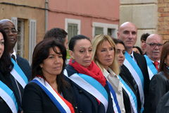 Commemorations of November 11, 1918. Marseille, France - November 11, 2014: Samia Ghali and other elected at the commemoration of November 11, 1918 stock photos