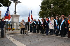 Commemorations of November 11, 1918. Marseille, France - November 11, 2014: Samia Ghali and other elected at the commemoration of November 11, 1918 royalty free stock photo