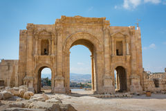 The commemorative Arch of Hadrian in the ancient city of Jerash Royalty Free Stock Image