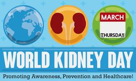 Globe, Kidneys and Calendar with Date for World Kidney Day, Vector Illustration. Commemorative banner in flat style with cross pattern in the background and Royalty Free Stock Image