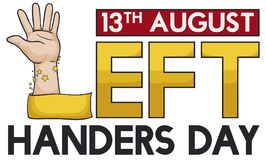 Hand with Ribbon like Letter L for Left Handers Day, Vector Illustration Royalty Free Stock Photo