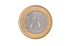 Commemorative brazilian 1 Real coin Royalty Free Stock Images