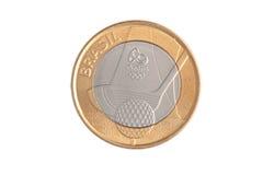 Commemorative brazilian 1 Real coin Stock Photo
