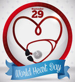 Commemorative Button with Stethoscope and Ribbon for World Heart Day, Vector Illustration Royalty Free Stock Photo
