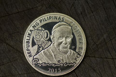 Commemorative coin featuring the Pope Francis Stock Images