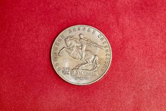 Commemorative coin USSR five rubles with monument of David of Sasun. Commemorative coin USSR five russian rubles dedicated to a monument in Yerevan of David of Royalty Free Stock Photography