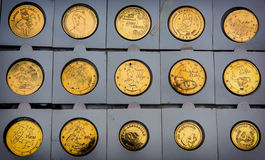 Commemorative coins Azerbaijani. Commemorative gold coins Azerbaijani souvenirs Stock Photography