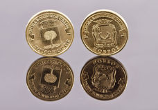 Commemorative coins Bank of Russia from the City of Military Glo Stock Images