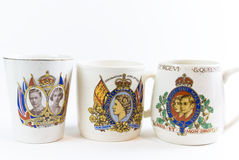 Commemorative coronation mugs Stock Photo