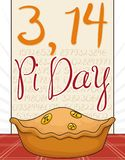 Pi Day Celebrated with Delicious Pie and Pi Symbols, Vector Illustration vector illustration