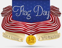 Commemorative Design with Scrolls and Banners for American Flag Day, Vector Illustration. Design with American flag and scrolls with poem and national anthem Royalty Free Stock Images